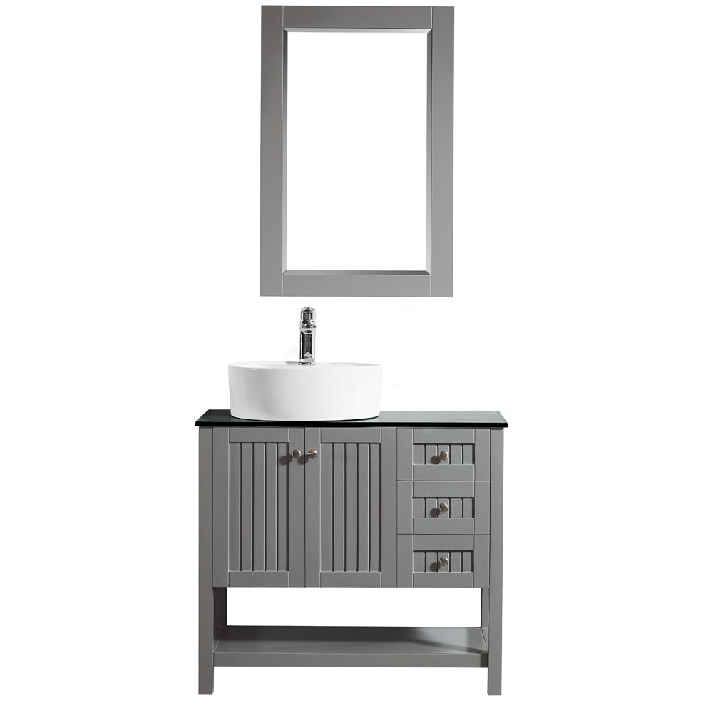 "36"" Vanity in Grey with Glass Countertop with White Vessel Sink With Mirror"