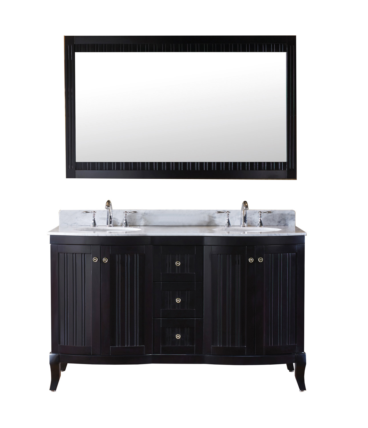 "60"" Double Bath Vanity in Espresso with Marble Top and Round Sink, Mirror with Faucet Options"