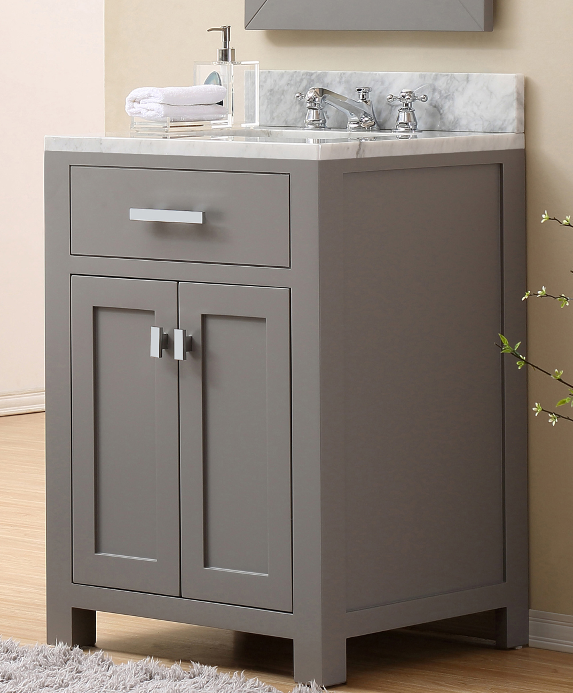 "24"" Cashmere Grey Single Sink Bathroom Vanity with Carrara White Marble Top"