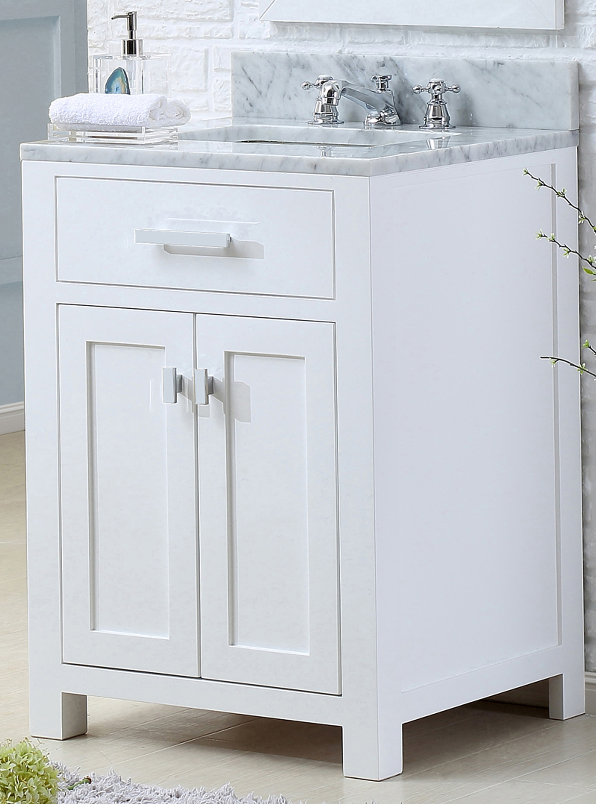 "24"" Pure White Single Sink Bathroom Vanity with Carrara White Marble Top"