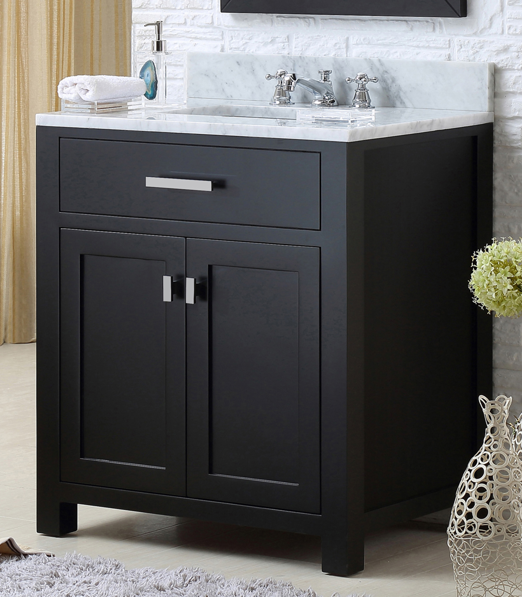 "30"" Espresso Single Sink Bathroom Vanity with White Carrara Marble Top"