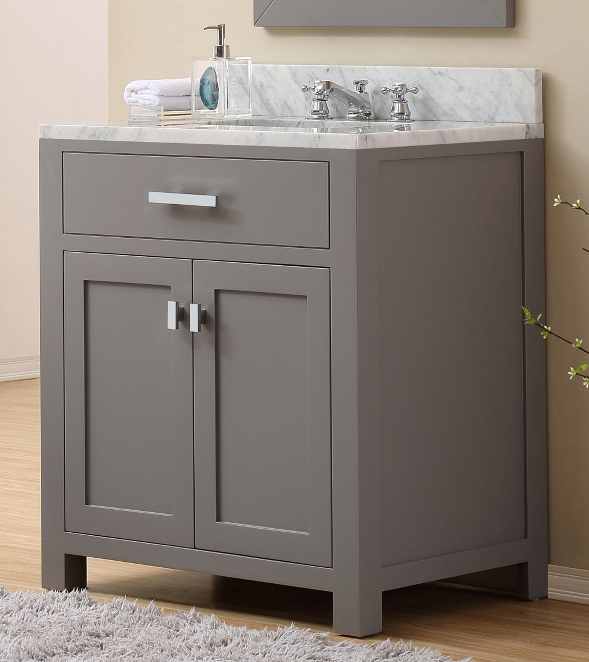 "30"" Cashmere Grey Single Sink Bathroom Vanity with Carrara White Marble Top"