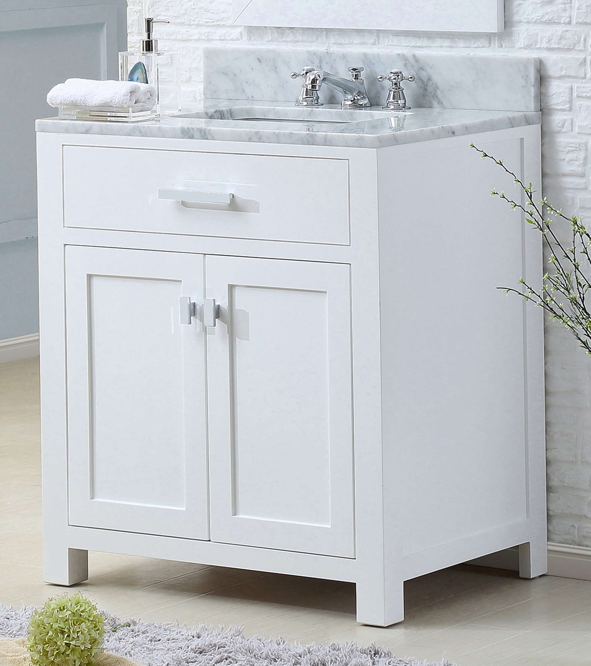 "30"" Pure White Single Sink Bathroom Vanity with Carrara White Marble Top"