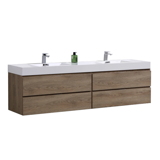 "Modern Lux 72"" Double  Sink Butternut Wall Mount Modern Bathroom Vanity"