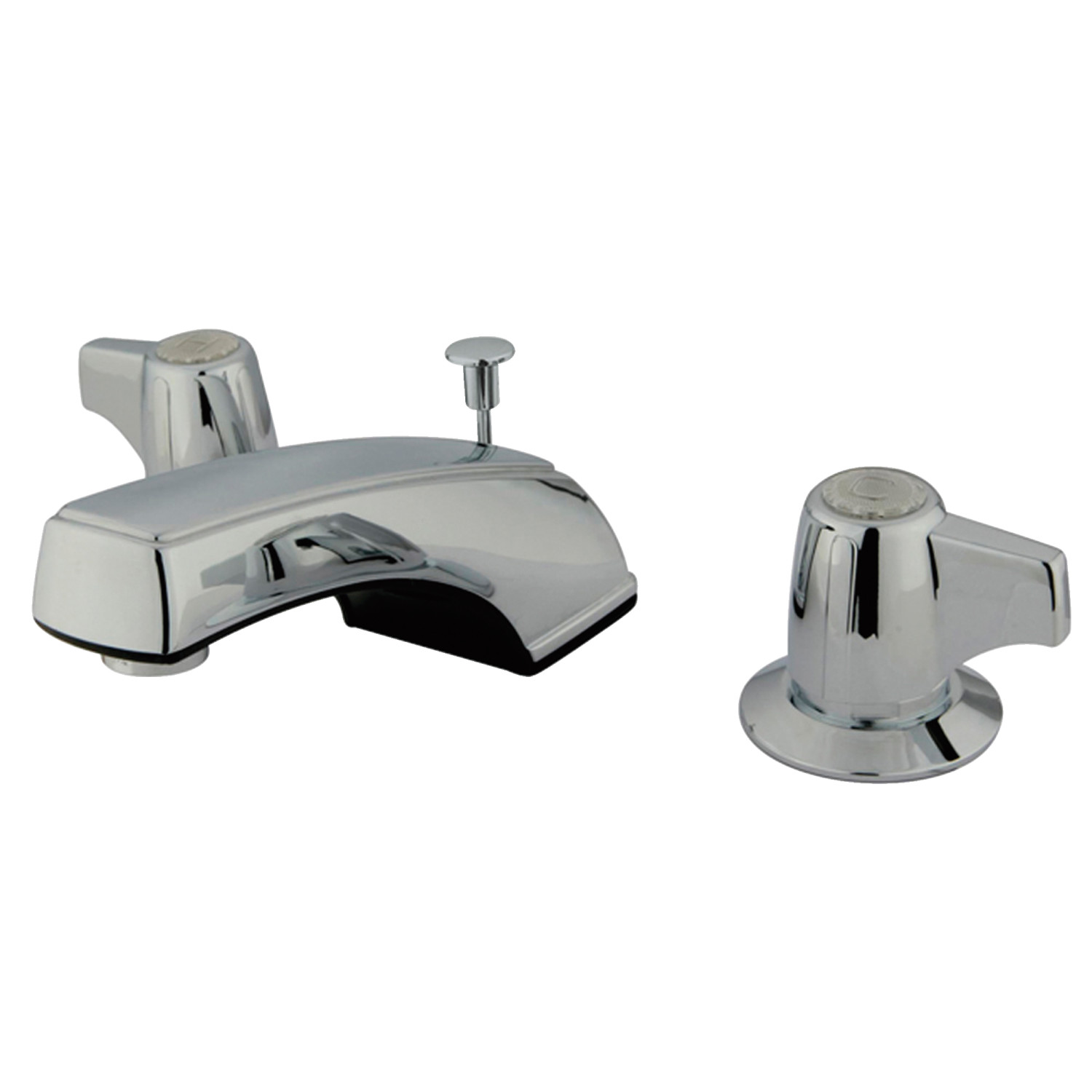 Traditional 2-Handle 3-Hole Deck Mounted Widespread Bathroom Faucet with Plastic Pop-Up in Polished Chrome Color