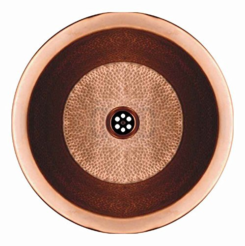 "Copperhaus Round Drop-in/Undermount Copper basin with a Hammered Bronze Texture  & 1 1/2"" Center Drain"