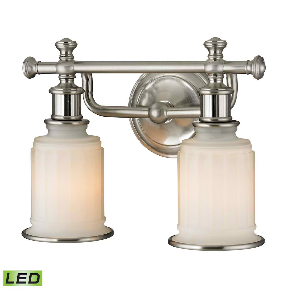 Acadia Collection 2 Light Bath in Brushed Nickel - LED, 800 Lumens (1600 Lumens Total) with Full Scale
