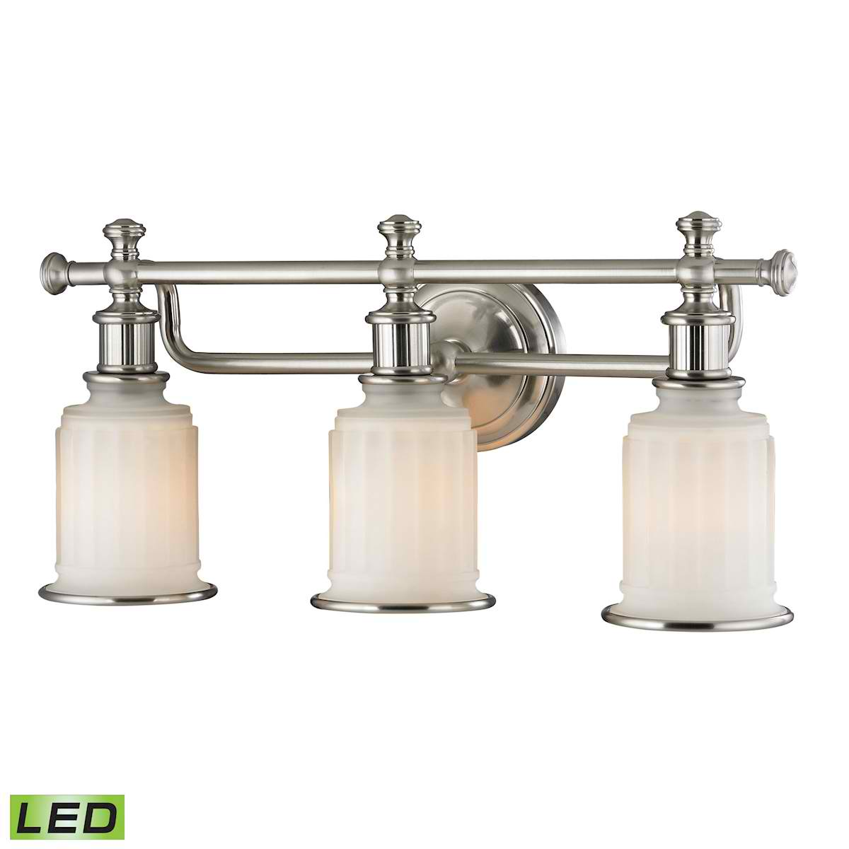 Acadia Collection 3 Light Bath in Brushed Nickel - LED, 800 Lumens (2400 Lumens Total) with Full Scale