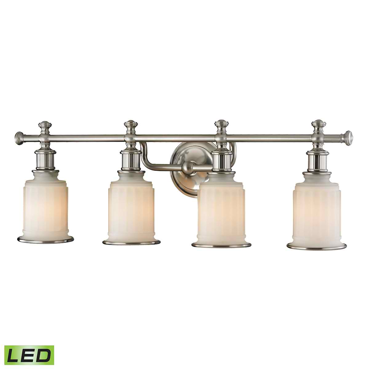 Acadia Collection 4 Light Bath in Brushed Nickel - LED, 800 Lumens (3200 Lumens Total) with Full Scale
