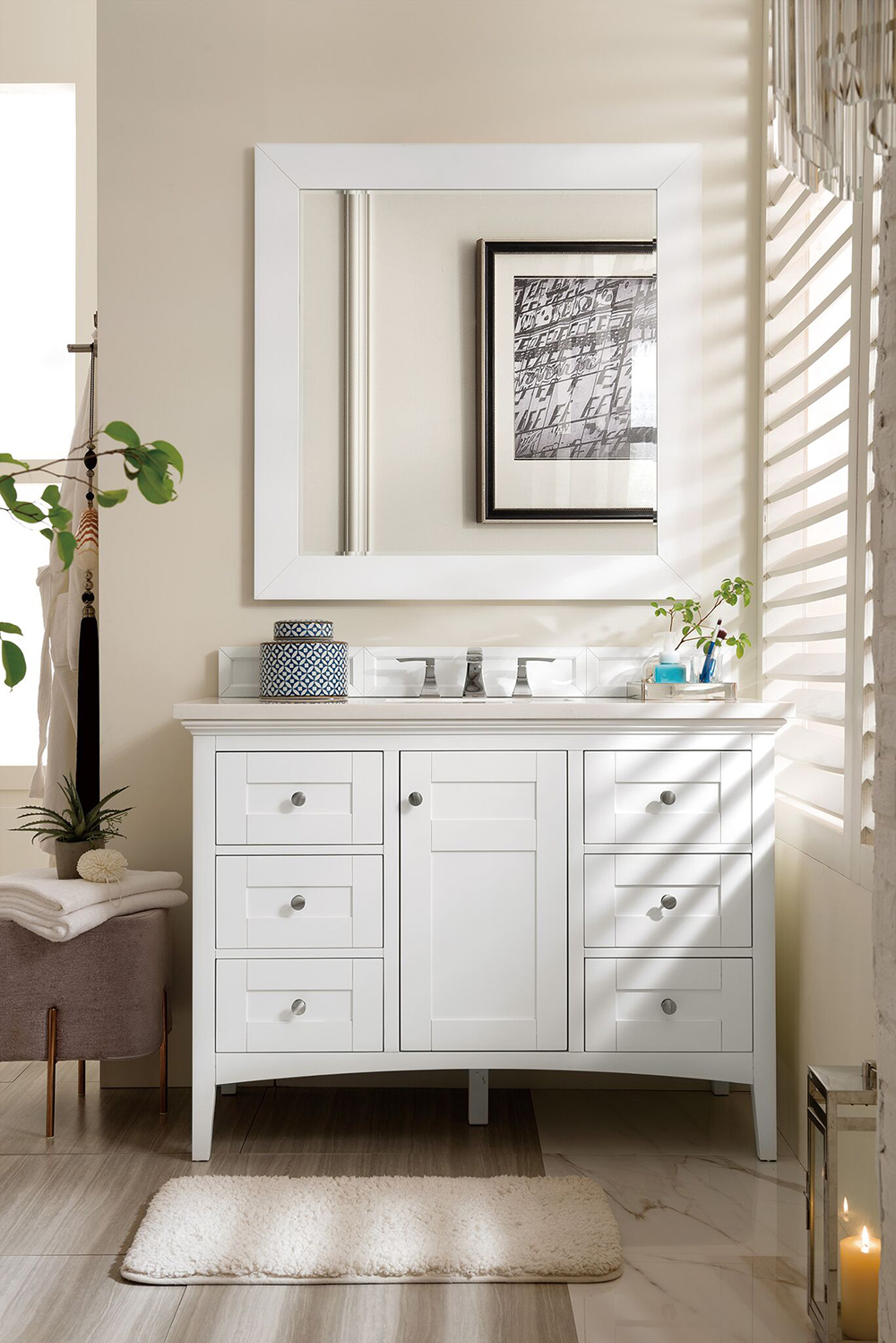 "James Martin Palisades Collection 48"" Single Vanity, Bright White"