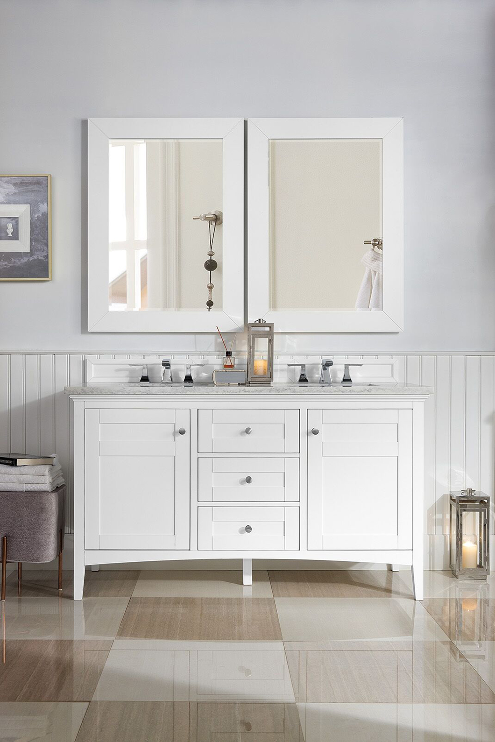 "James Martin Palisades Collection 60"" Double Vanity, Bright White"