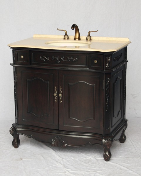 "36"" Adelina Antique Style Single Sink Bathroom Vanity in Espresso Finish with Beige Stone Countertop"
