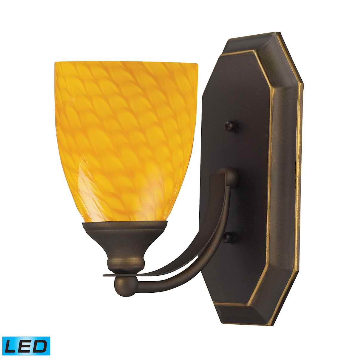 1 Light Vanity in Aged Bronze and Canary Glass - LED Offering Up To 800 Lumens (60 Watt Equivalent)