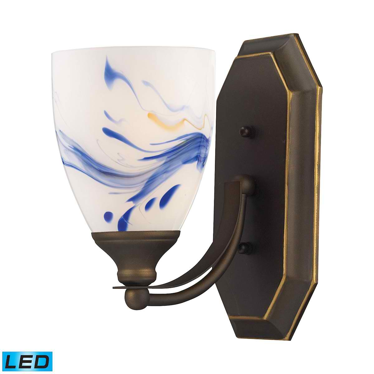 1 Light Vanity in Aged Bronze and Mountain Glass - LED Offering Up To 800 Lumens (60 Watt Equivalent)