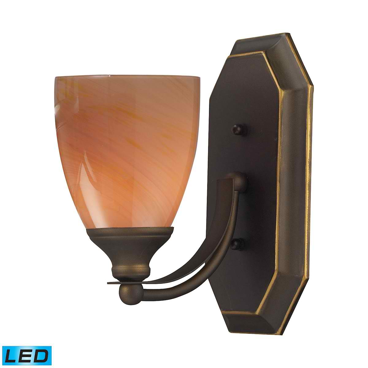 1 Light Vanity in Aged Bronze and Sandy Glass - LED Offering Up To 800 Lumens (60 Watt Equivalent)
