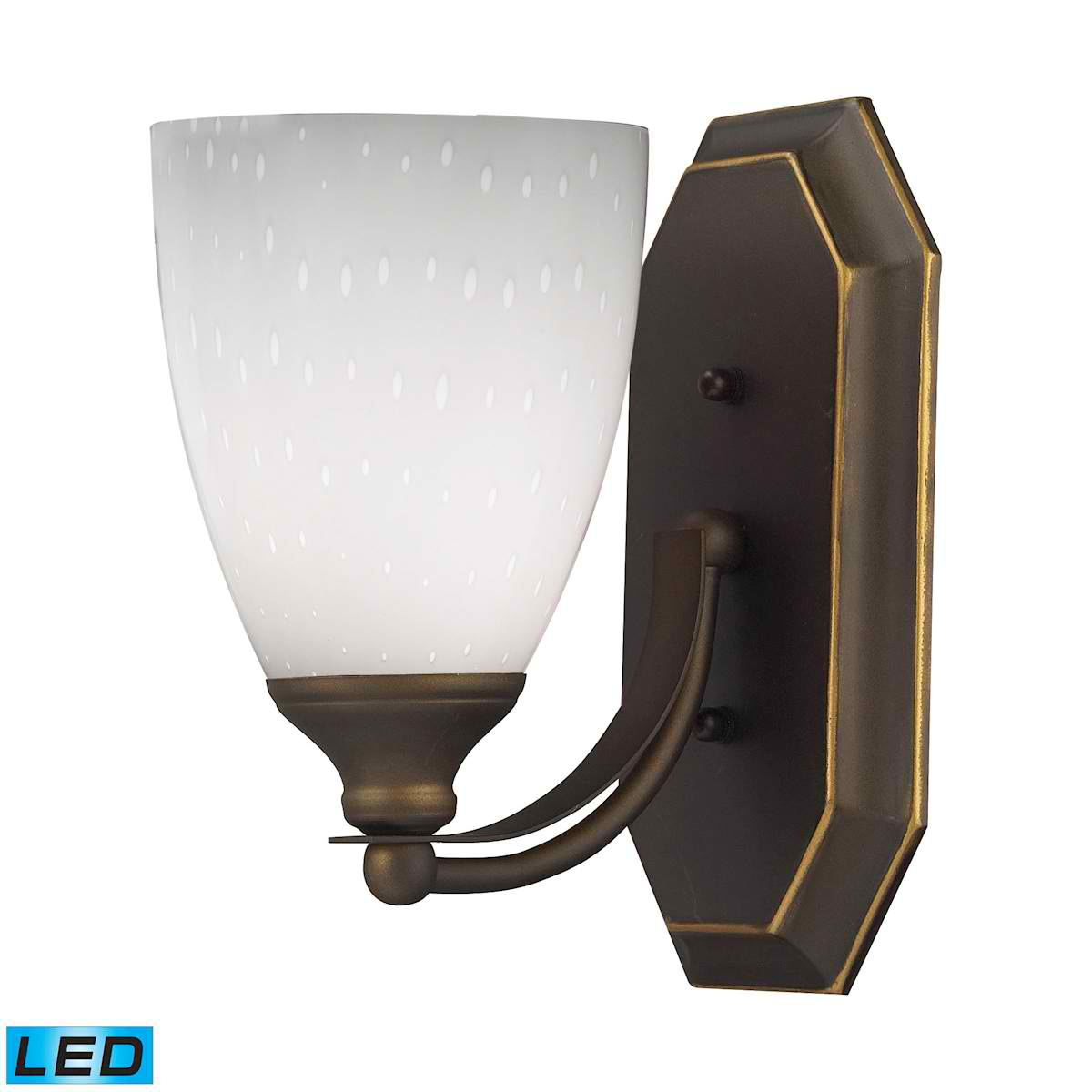 1 Light Vanity in Aged Bronze and Simply White Glass - LED Offering Up To 800 Lumens (60 Watt Equivalent)