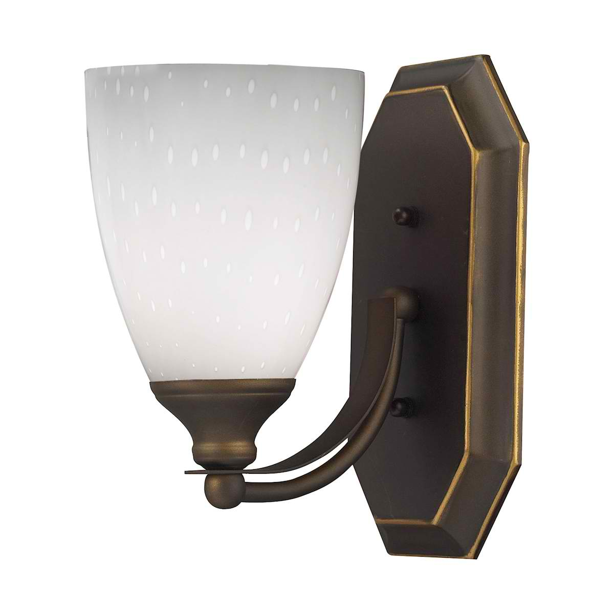 Vanity 1 Lt Aged Bronze with Simple White Glass