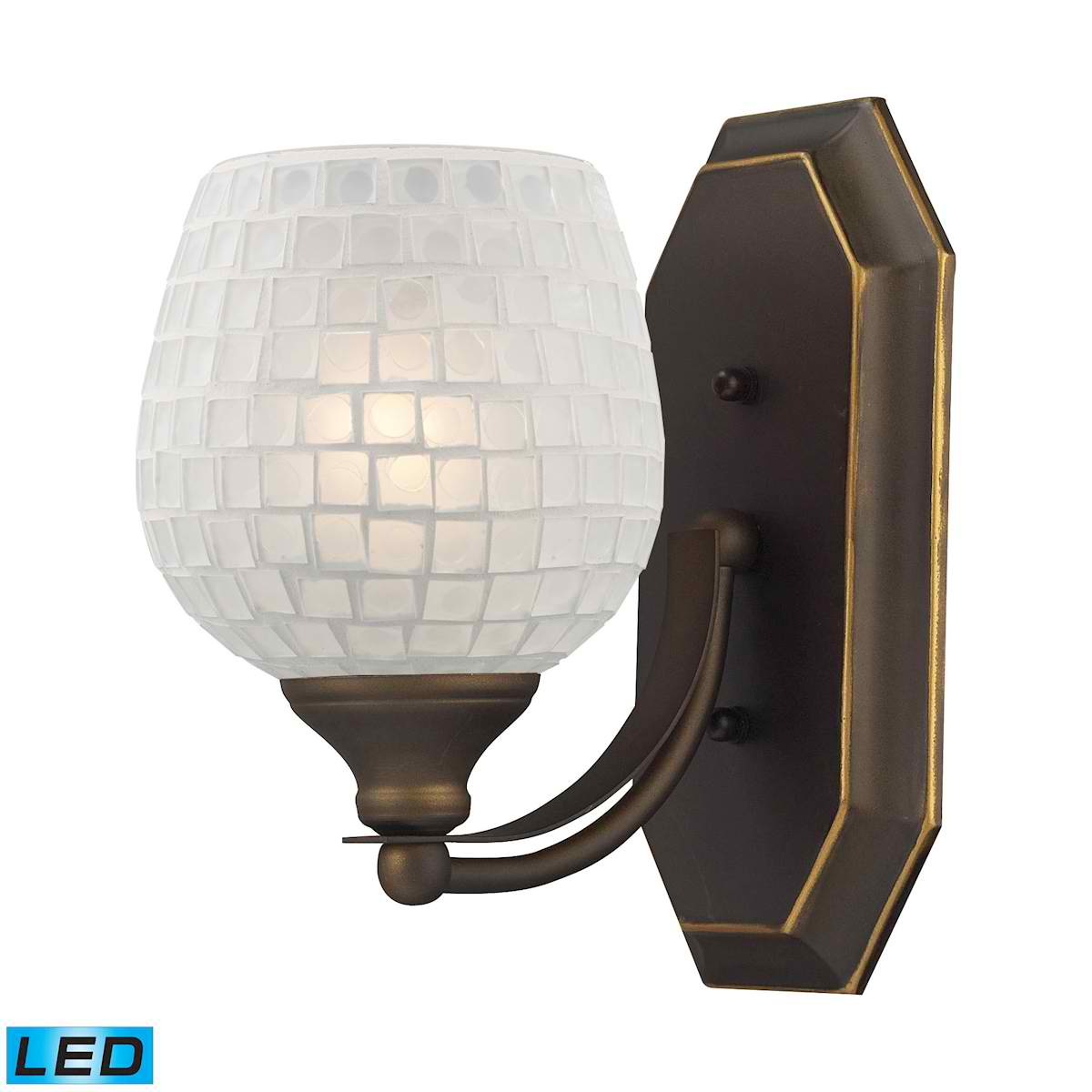 1 Light Vanity in Aged Bronze and White Mosaic Glass - LED Offering Up To 800 Lumens (60 Watt Equivalent)