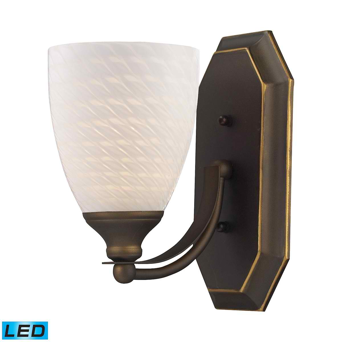 1 Light Vanity in Aged Bronze and White Swirl Glass - LED Offering Up To 800 Lumens (60 Watt Equivalent)