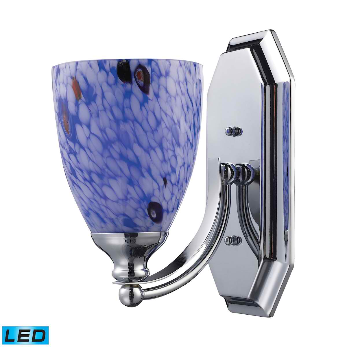 1 Light Vanity in Polished Chrome and Starburst Blue Glass - LED Offering Up To 800 Lumens (60 Watt Equivalent)