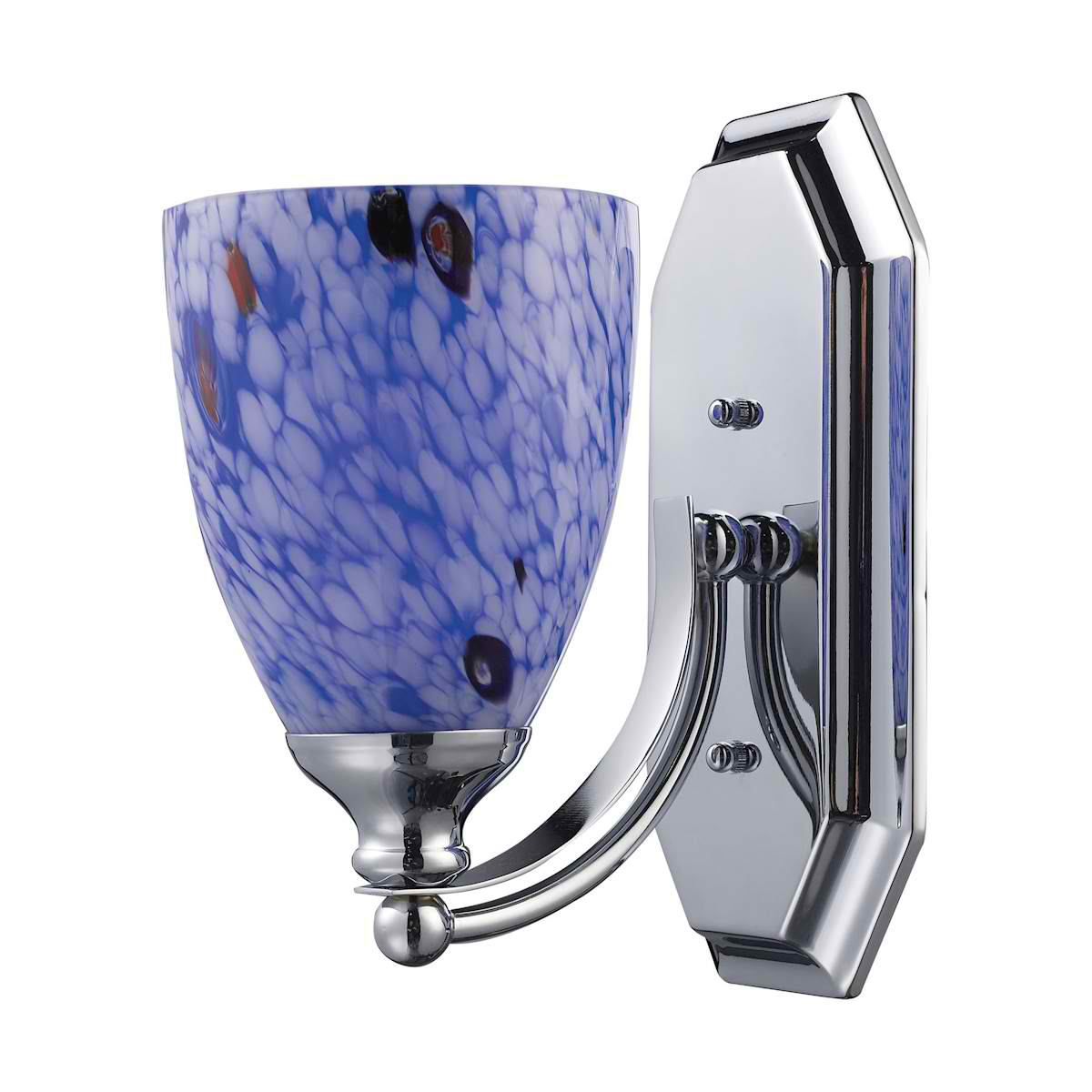 Vanity 1 Light Chrome Finish with Starburst Blue Glass