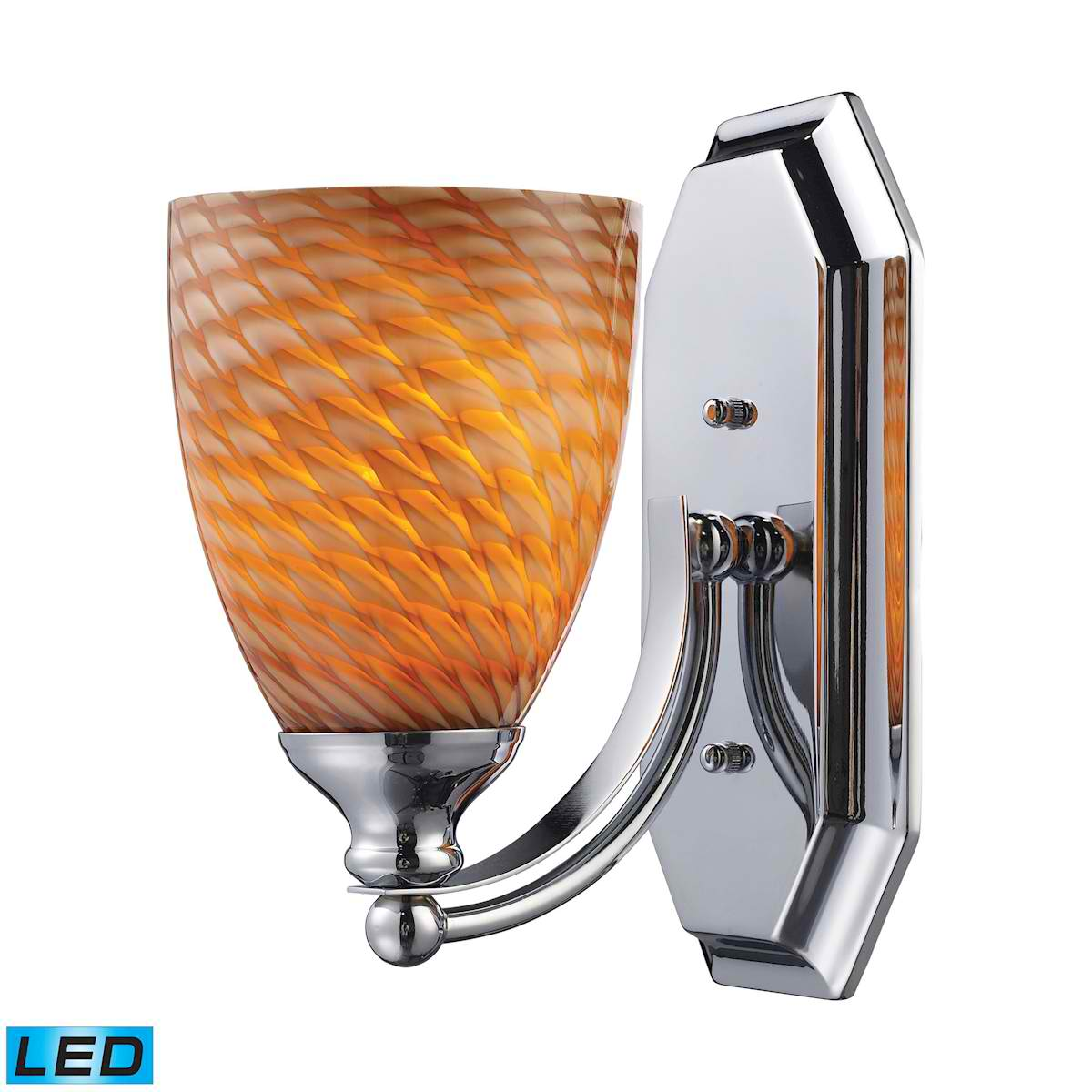 1 Light Vanity in Polished Chrome and Coco Glass - LED Offering Up To 800 Lumens (60 Watt Equivalent)