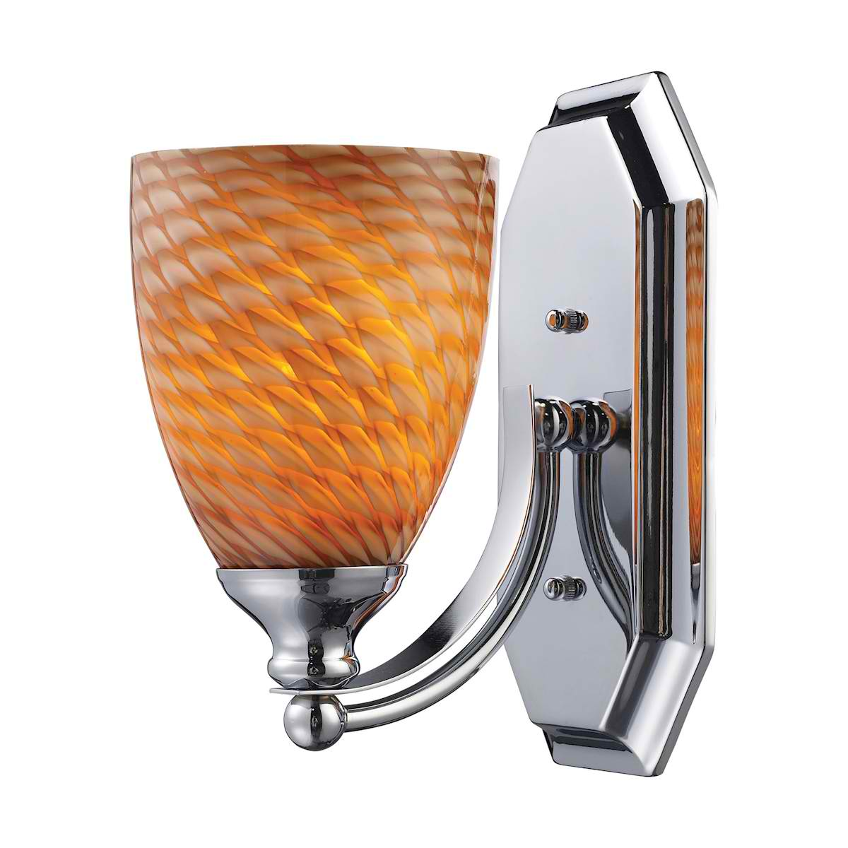 Vanity 1 Light Chrome Finish with Cocoa Glass