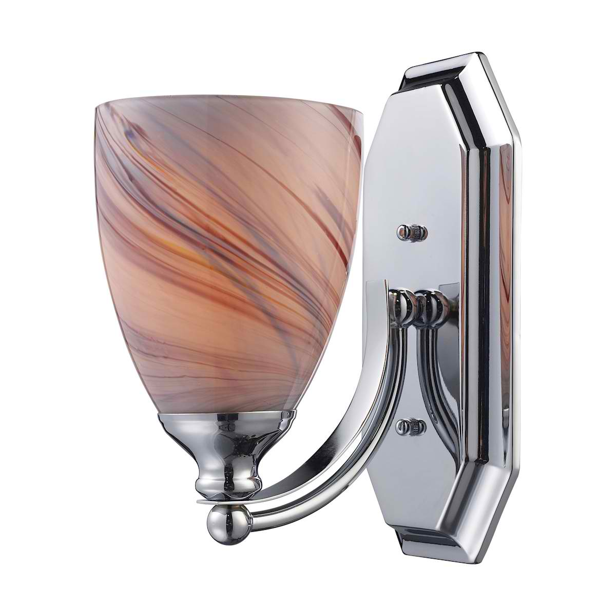 Vanity 1 Light Chrome Finish with Creme Glass