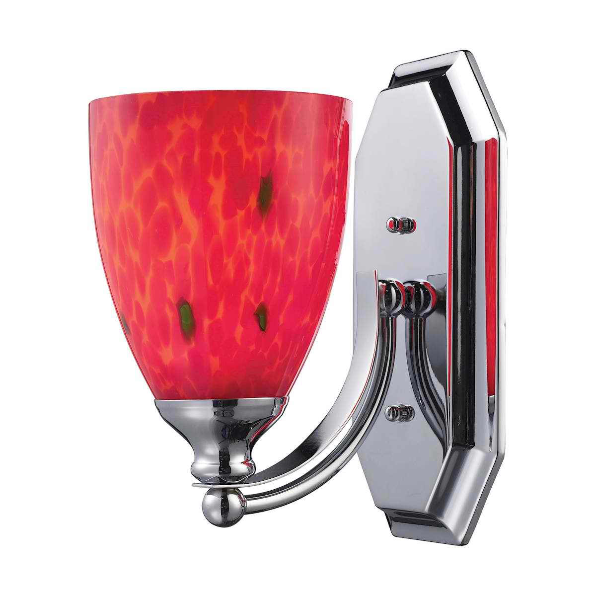 Vanity 1 Light Chrome Finish with Fire Red Glass