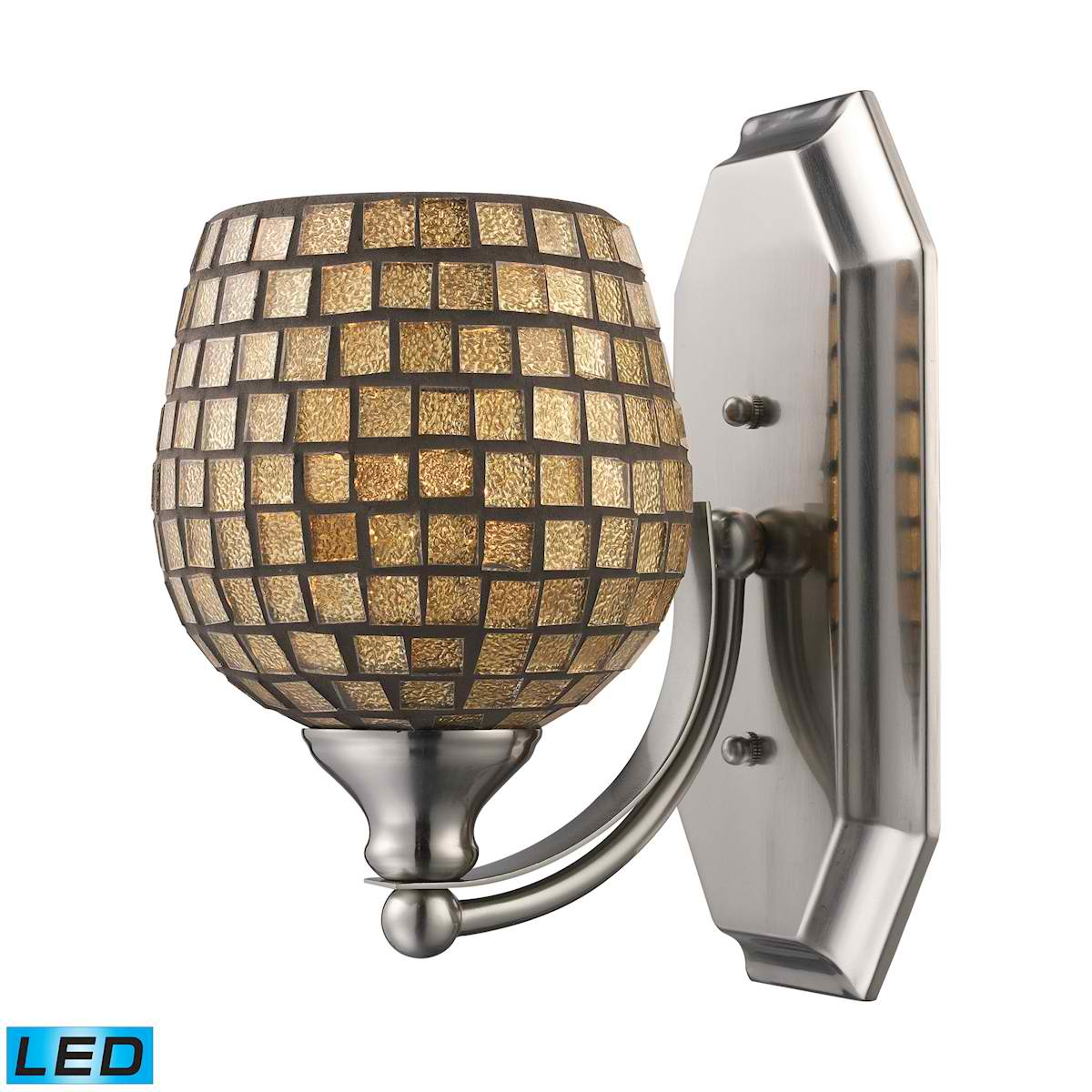 1 Light Vanity in Polished Chrome and Gold Mosaic Glass - LED Offering Up To 800 Lumens (60 Watt Equivalent)