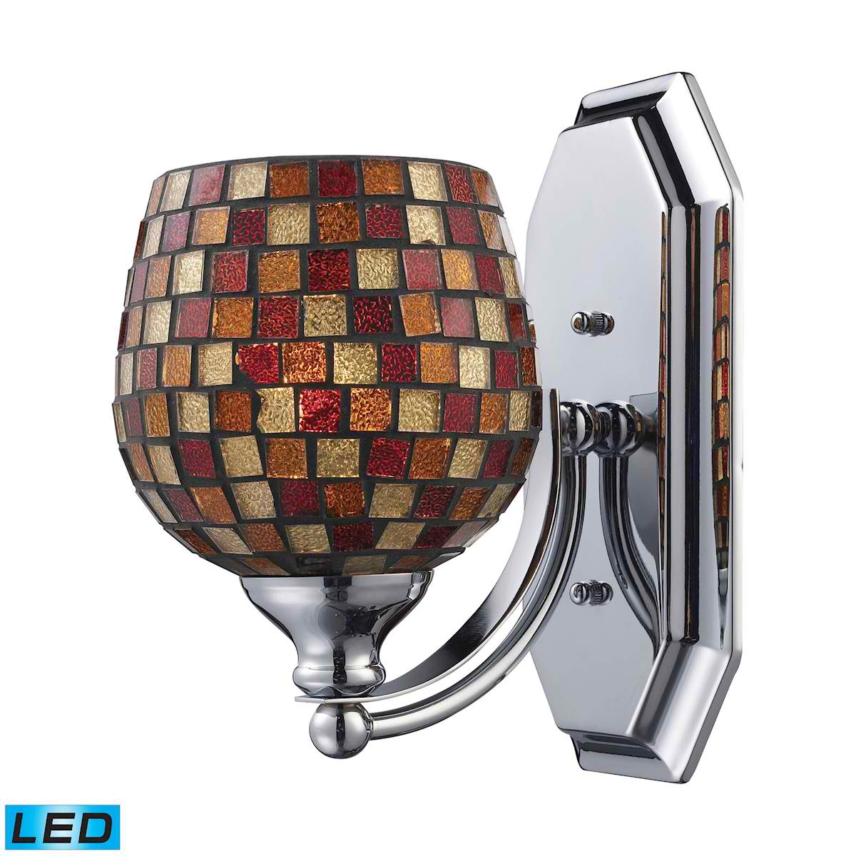 1 Light Vanity in Polished Chrome and Multi Mosaic Glass - LED Offering Up To 800 Lumens (60 Watt Equivalent)