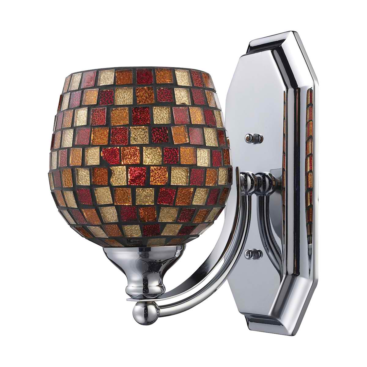 Vanity 1 Light Chrome Finish with Multi Fusion Glass