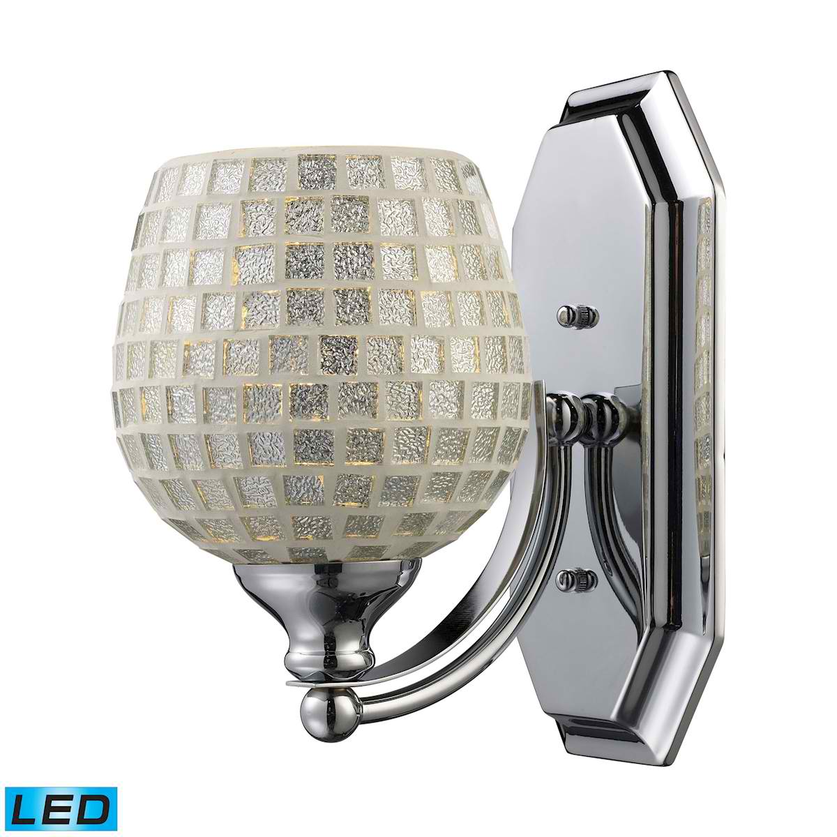 1 Light Vanity in Polished Chrome and Silver Mosaic Glass - LED Offering Up To 800 Lumens (60 Watt Equivalent)