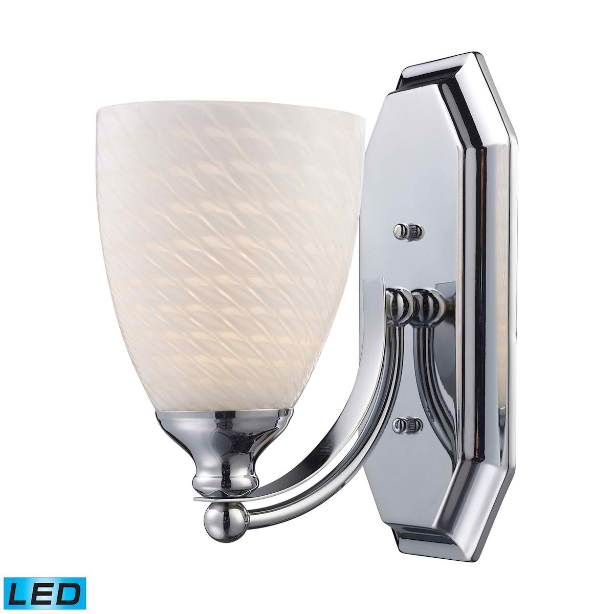 1 Light Vanity in Polished Chrome and White Swirl Glass - LED Offering Up To 800 Lumens (60 Watt Equivalent)