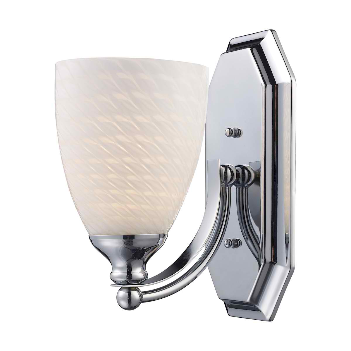 Vanity 1 Light Chrome Finish Complete with White Swirl Glass