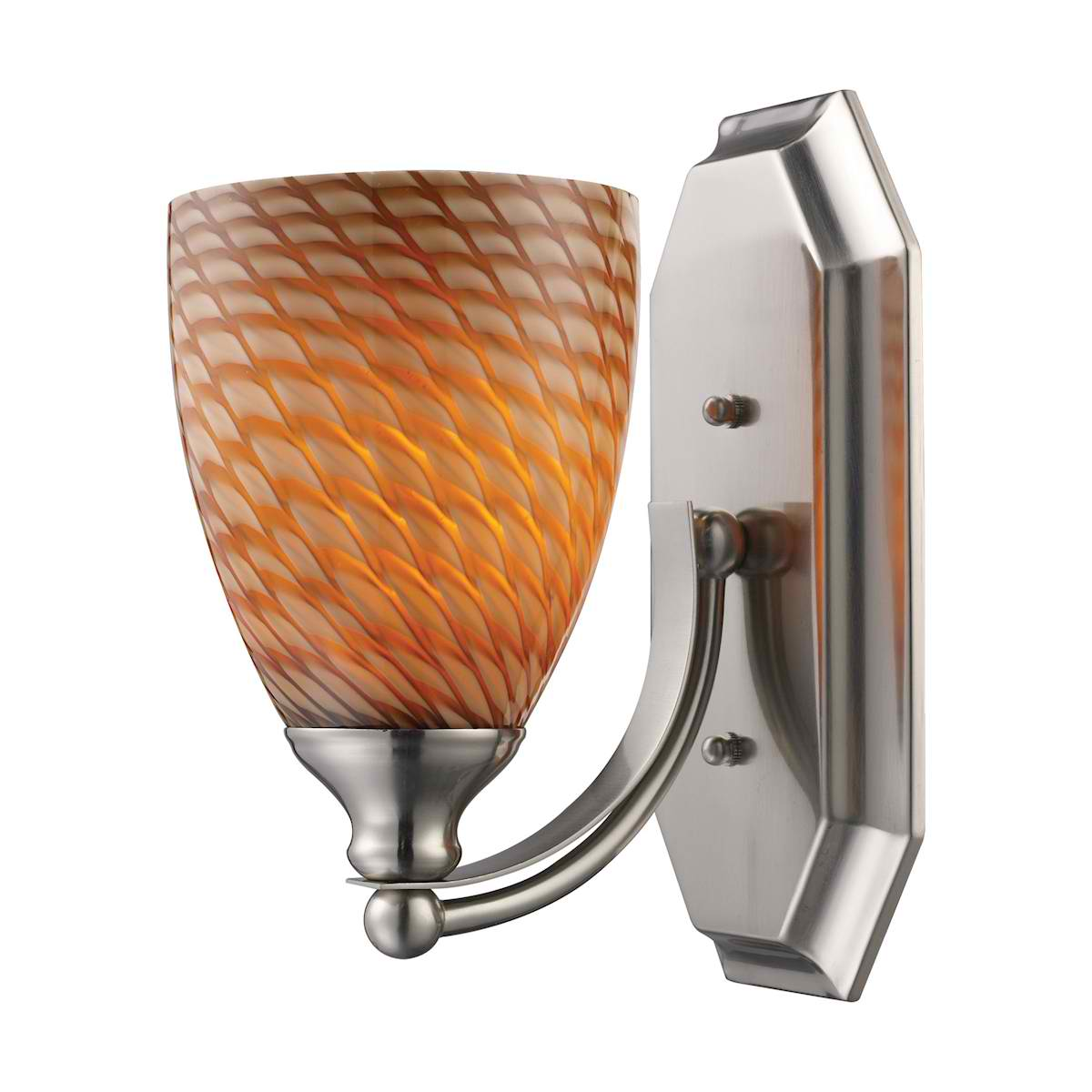Vanity 1 Light Satin Nickel with Cocoa Glass