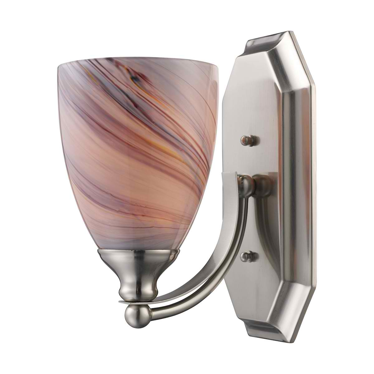 Vanity 1 Light Satin Nickel with Creme Glass
