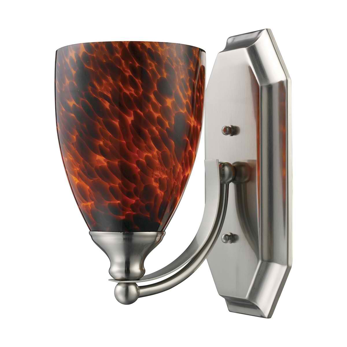 Vanity 1 Light Satin Nickel with Espresso Glass
