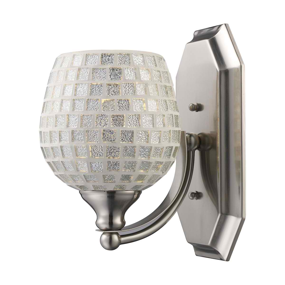 Vanity 1 Light Satin Nickel with Silver Glass