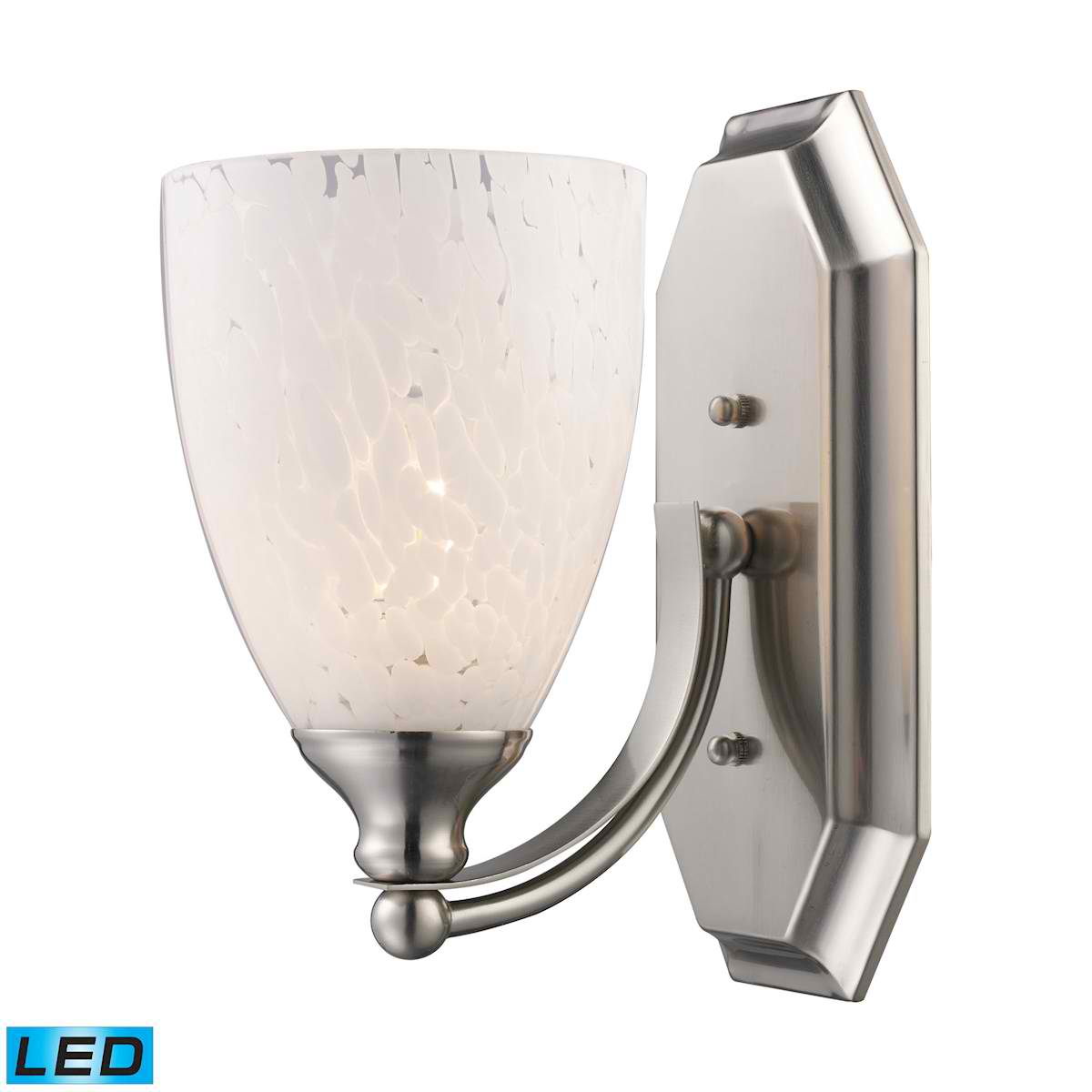 1 Light Vanity in Satin Nickel and Snow White Glass - LED Offering Up To 800 Lumens (60 Watt Equivalent)