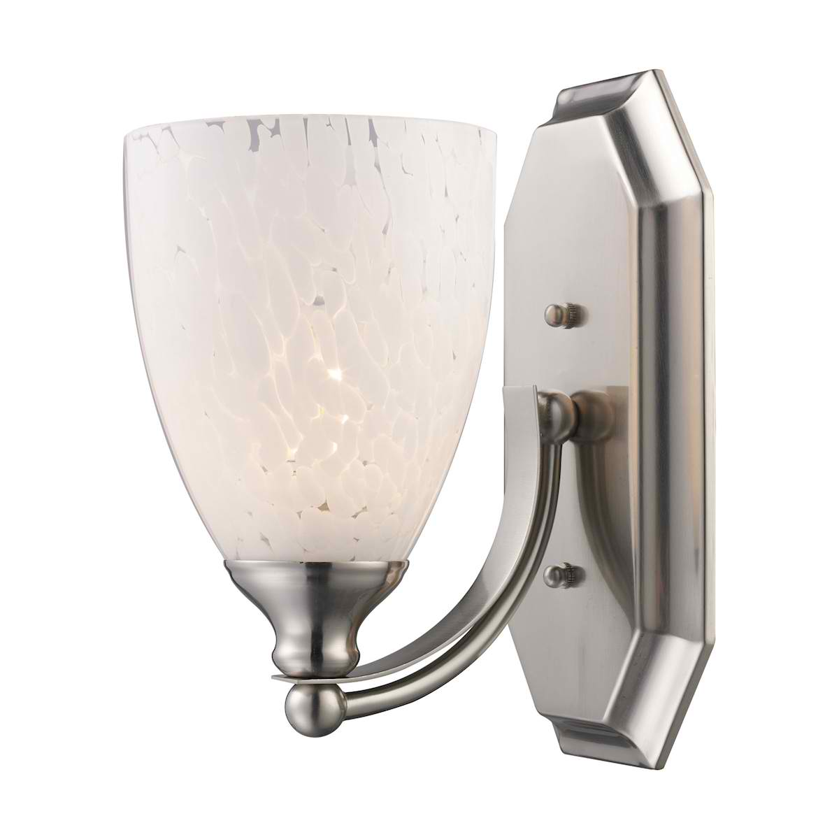 Vanity 1 Light Satin Nickel with Snow White Glass
