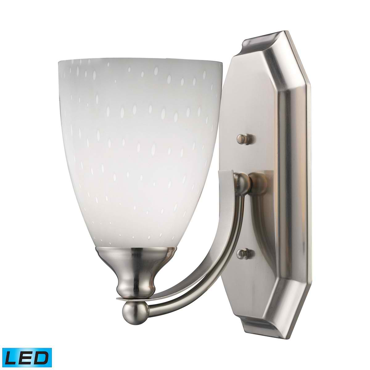 1 Light Vanity in Satin Nickel and Simply White Glass - LED Offering Up To 800 Lumens (60 Watt Equivalent)