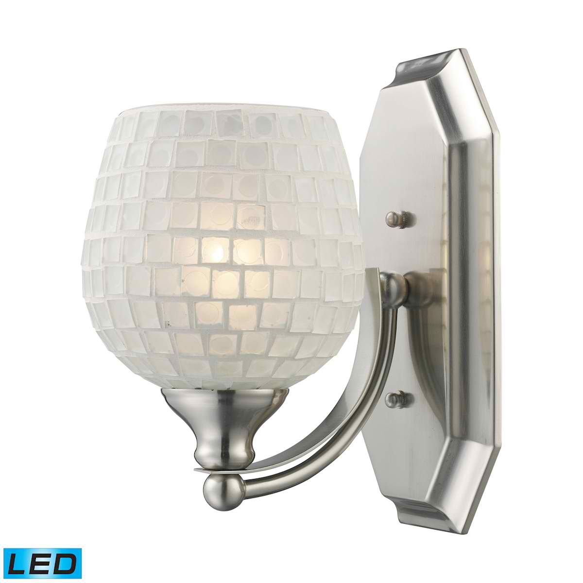 1 Light Vanity in Satin Nickel and White Mosaic Glass - LED Offering Up To 800 Lumens (60 Watt Equivalent)