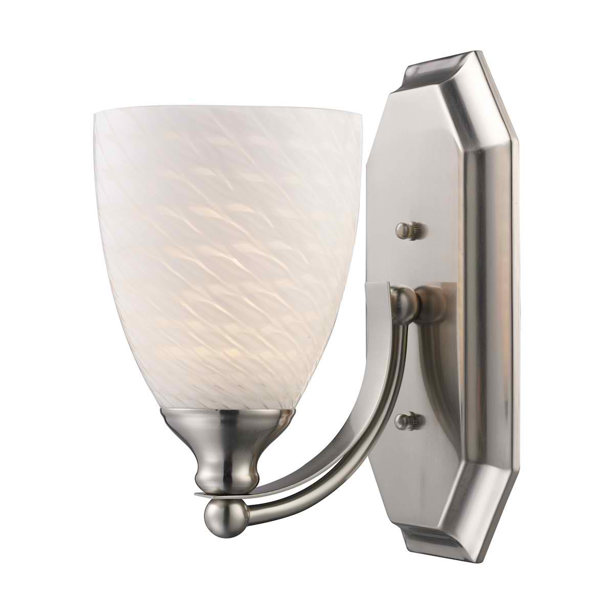 Vanity 1 Light Satin Nickel with White Swirl Glass