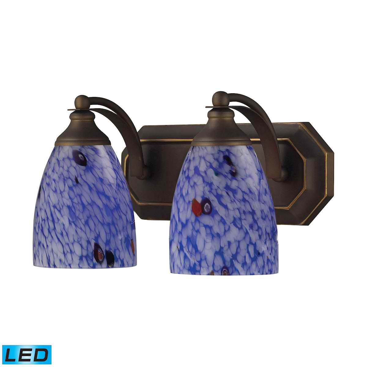2 Light Vanity in Aged Bronze and Starburst Blue Glass - LED, 800 Lumens (1600 Lumens Total) with Fu