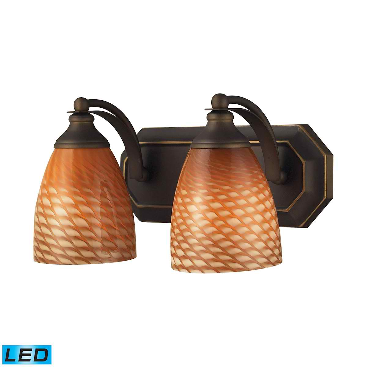 2 Light Vanity in Aged Bronze and Coco Glass - LED, 800 Lumens (1600 Lumens Total) with Full Scale