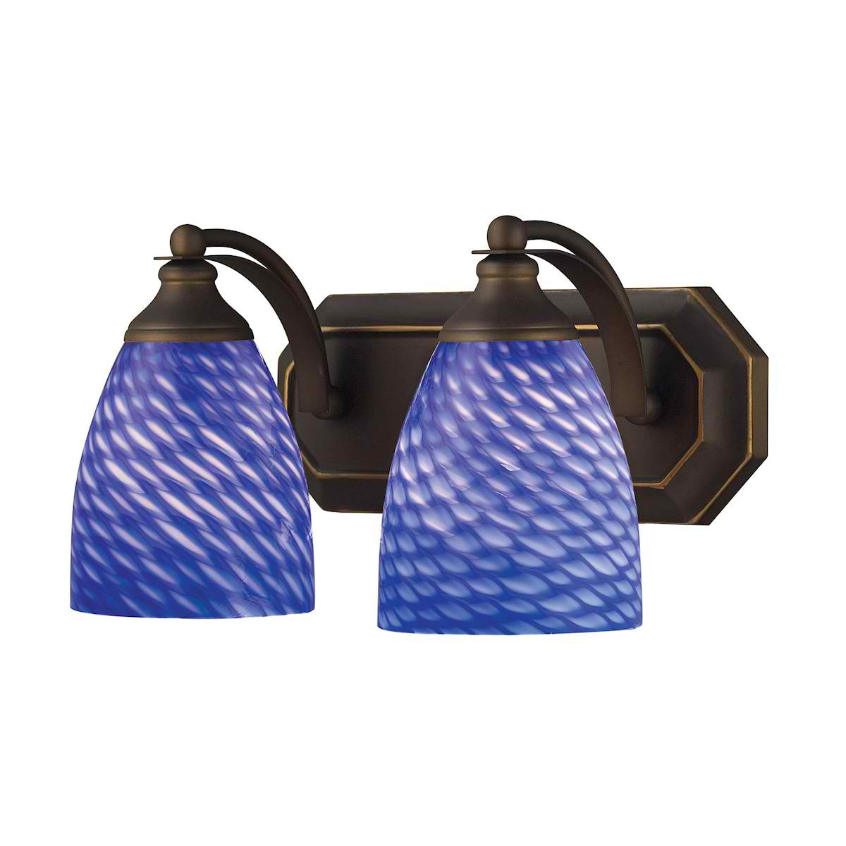 Vanity 2 Light Aged Bronze with Sapphire Glass