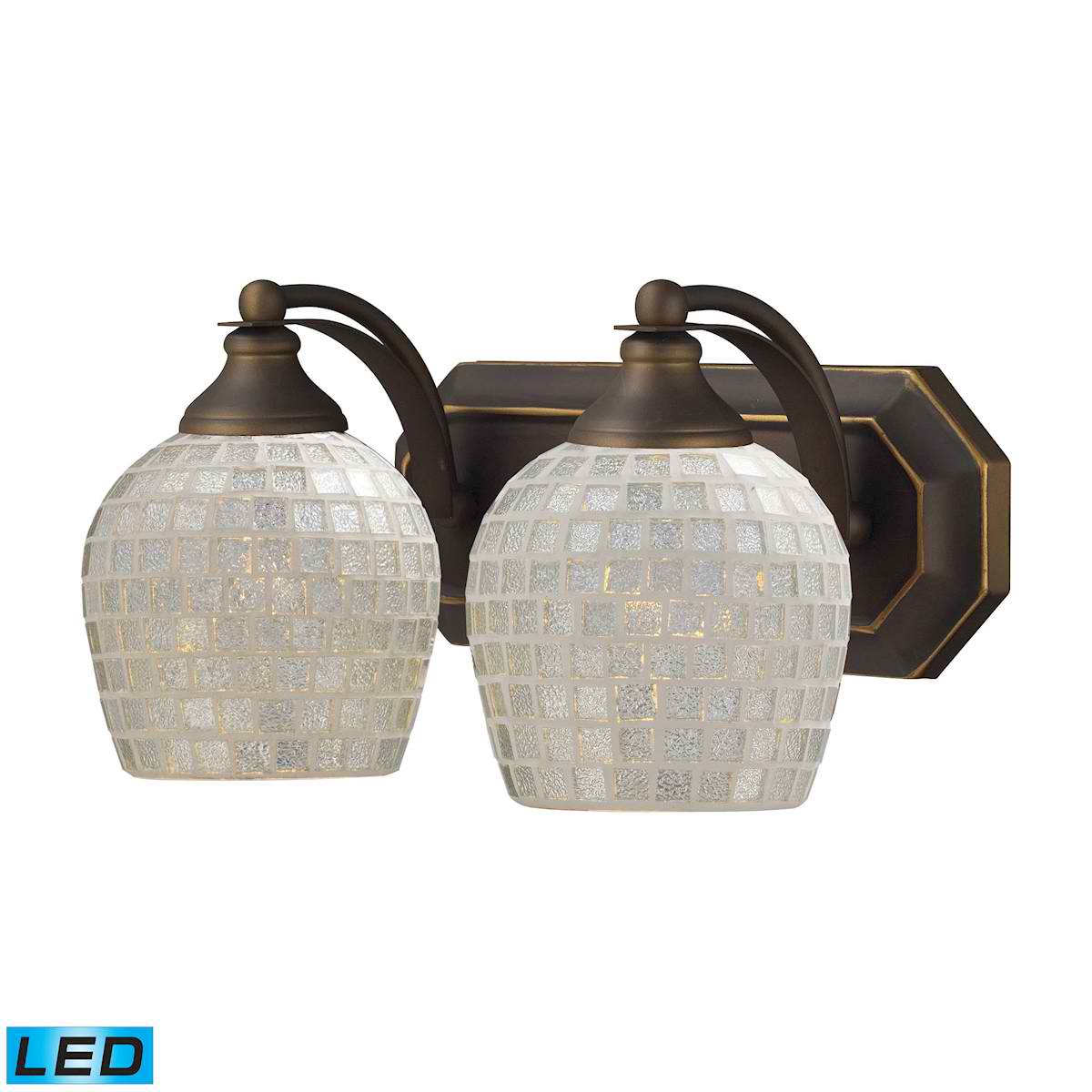 2 Light Vanity in Aged Bronze and Silver Mosaic Glass - LED, 800 Lumens (1600 Lumens Total) with Full Scale