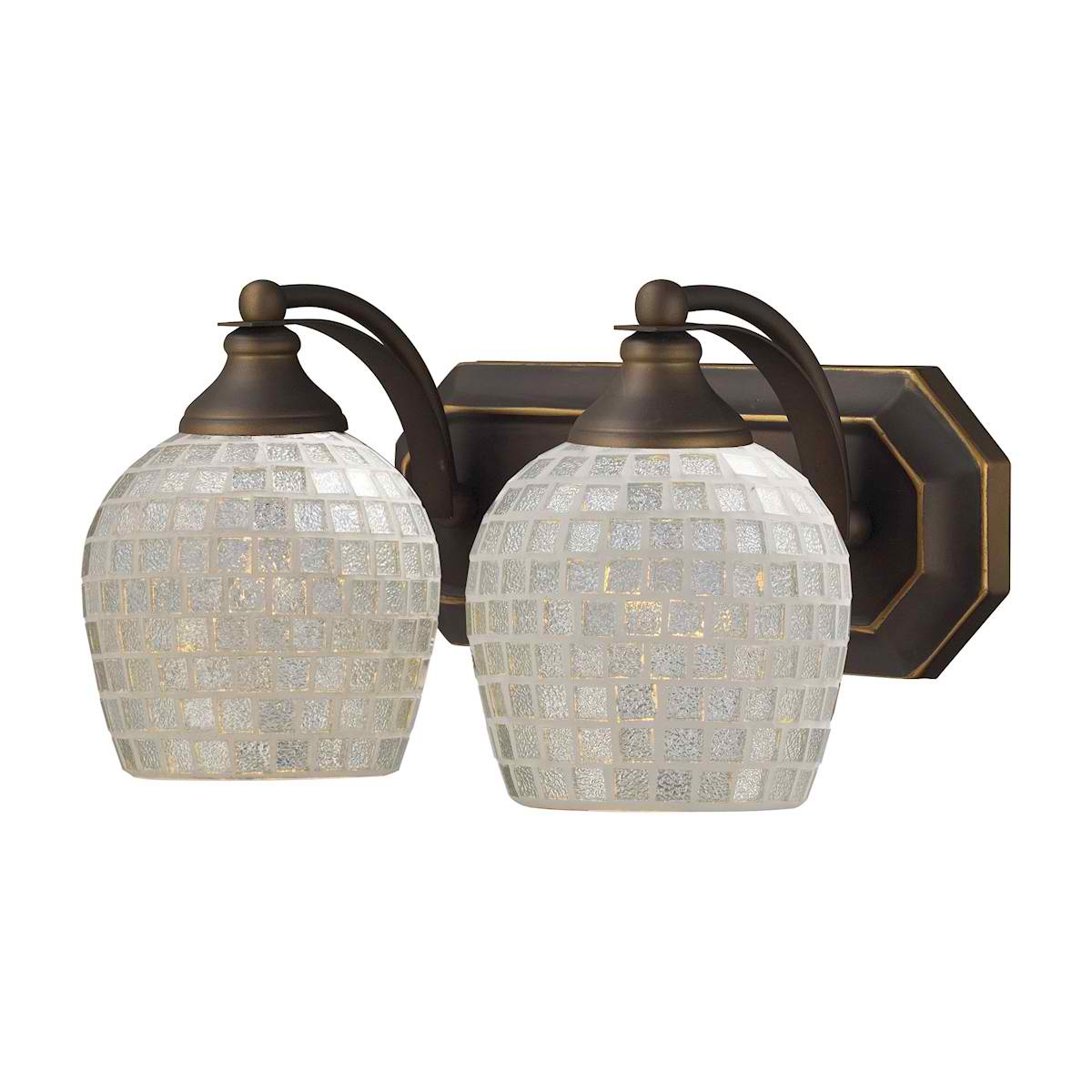 Vanity 2 Light Aged Bronze with Silver Glass