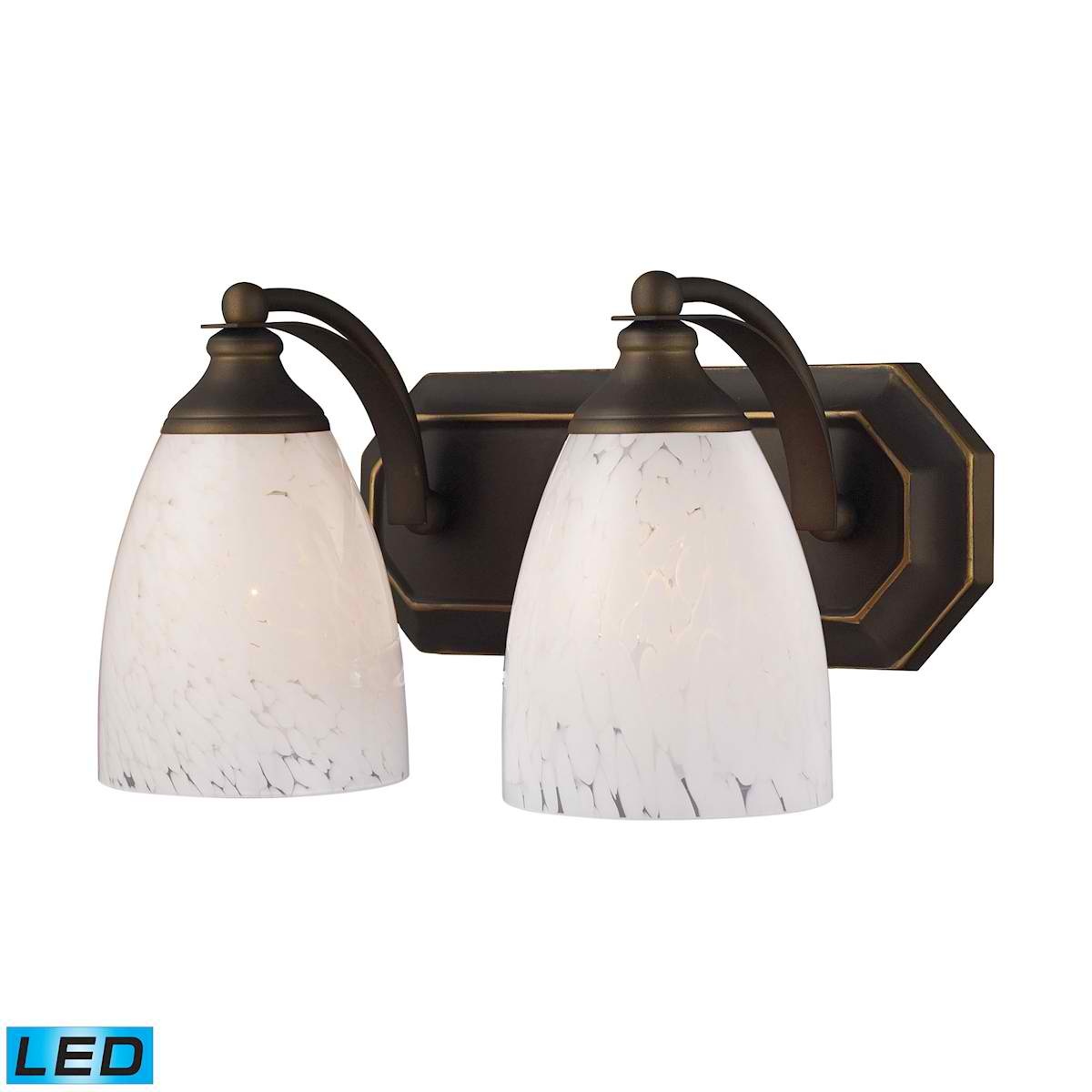 2 Light Vanity in Aged Bronze and Snow White Glass - LED, 800 Lumens (1600 Lumens Total) with Full Scale
